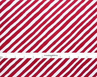 Red & White Stripe Fabric, In The Beginning Fabric, It's Christmas 9JHF1 Jennifer Heynen, Red Bias Stripe Quilt Fabric, Christmas Cotton