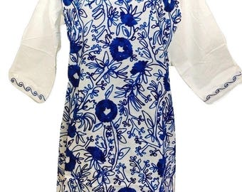 Women 100% Cotton tunic dress Kurti Kurta top blue floral hand Embroidered ethnic Indian Pakistani Boho Sz Medium White.
