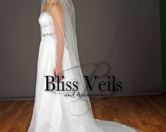 Rhinestone Veil, Beaded Veil, Chapel Wedding Veil, Ivory Veil, White Veil, Wedding Veil with Crystals, ANY length, Fast Shipping!
