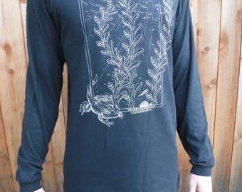 Men's Organic Cotton/Hemp Long Sleeve - 'Amphibians' / Nature / water / Frogs / underwater / Organic / Plants / Natural / water based print