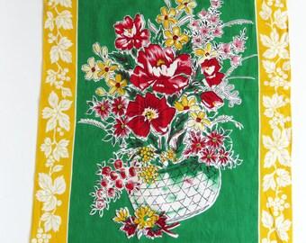 Vintage 50s / 60s cotton tea towel - Made in Japan - crisp floral beauty with fab retro colours