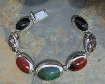 Two Trees ~ Heavy Mexican Sterling and Multi Stone Oval Link bracelet - 52 Grams