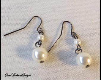 PEARL EARRiNGS dark Silver earrings White Pearl Earrings Steampunk Victorian Earrings by SweetDarknessDesigns