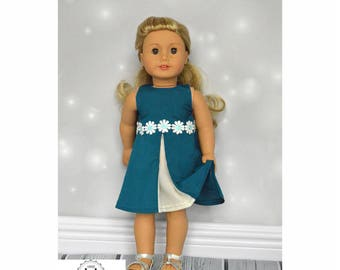 Graceful dress with lace for 18 inch dolls, American girl, Madame Alexander,  doll clothes - 18 inch doll clothes PDF sewing pattern
