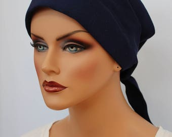 Gabrielle Pre-Tied Head Scarf -Women's Cancer Headwear, Chemo Scarf, Alopecia Hat, Head Wrap,  Head Cover for Hair Loss. Navy
