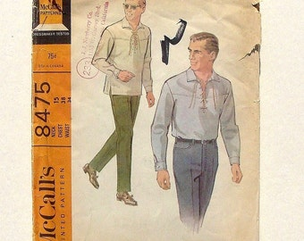 Vintage 60's McCall's Men's Shirt and Slacks Sewing Pattern #8475 - Size 38 Chest - 15 Neck - 34 Waist