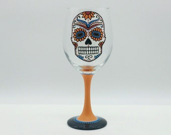 Sugar Skull Hand Painted Wine Glass Orange Turquoise Red Dia de los Muertos Day of the Dead
