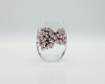 Cherry Blossom Hand Painted Stemless Wine Glass Pink Maroon Branch Flower Floral