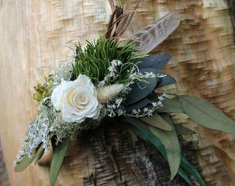 custom dried flower corsage, wrist corsage, greenery corsage, green and white corsage, white corsage, woodland corsage, woodland flowers