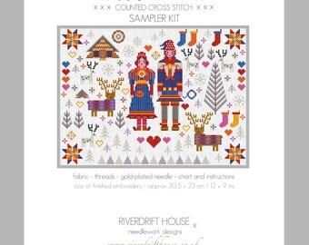 CROSS STITCH KIT Saami Lapland Folkies Sampler by Riverdrift House
