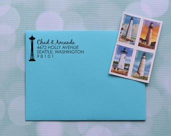 Seattle Address Stamp, Space Needle Stamp, Space Needle Address Stamp, Self Inking Address Stamp, Family Address Stamp, 0035
