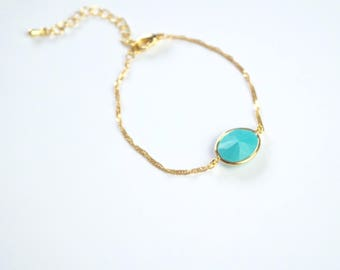 Turquoise stone bracelet, Turquoise jewelry, stacking bracelet, layering bracelet, thin bracelet, everyday jewelry, gold bracelet