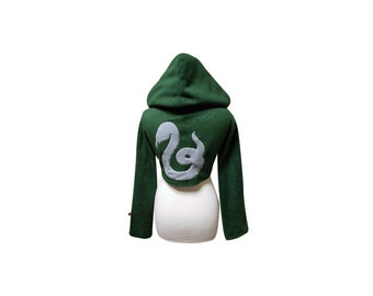 Harry Potter Hogwarts House Slytherin inspired cosplay hoodie (shrug style)