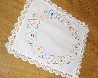 Polish white hand embroidered square floral traycloth vintage Multicolour Hearts Embroidery White Table top dresser scarf Valentine's Day