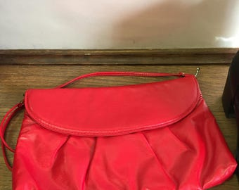 Vintage Bright RED Front Snap Purse with Long Shoulder Strap Cross Body