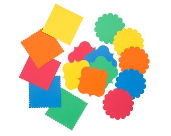 Die Cut Cardstock Shapes in Bright Rainbow Colors 60 Piece Set Scalloped Edge Square Circle for Handmade Cards and Kid's Paper Craft Project