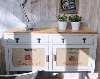 Grey Vintage Sideboard Rustic Upcycle Coffee Sacks