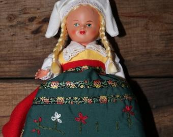 Vintage Vingaker Swedish Souvenir Doll National Costume Ingeborg Rudolph Traditional Sodermanland Folk Dress