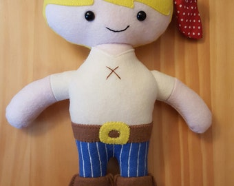 Felt Pirate doll pattern - PDF  digital download