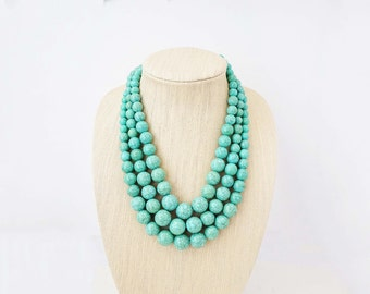 Light Blue Turquoise Beaded Statement Necklace