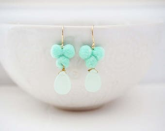 Mint and Gold Pom Pom and Gem Earrings