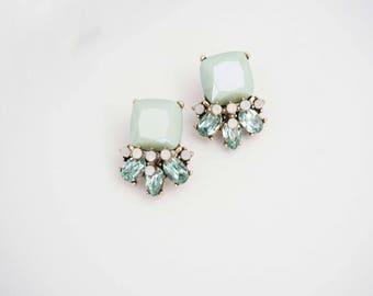 Mint Green Gem Statement Earrings