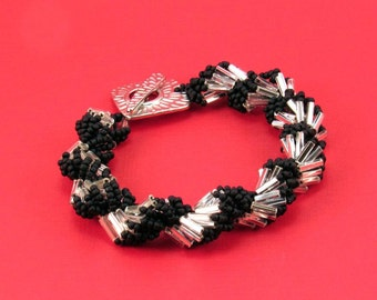 Silver and Black Bugle Bead Bracelet, Shell Game Bracelet, Jill Wiseman Design Bracelet, Beaded Spiral Bracelet, Fits 6-1/2 Inch Wrist