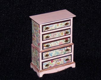 1:12th Dollhouse Chest of Drawers.  Decoupaged. Painted Pale Pink.  Five Working Drawers.