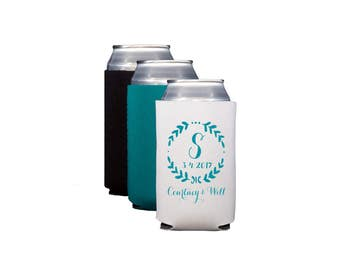 Monogrammed huggie, Personalized reception can cooler, wedding hugger, wedding can cooler, neoprene personalized drink sleeve