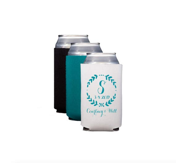 Monogrammed wedding koozie
