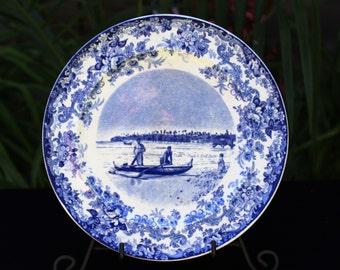 "On Sale!! Antique ""NATIVE HAWAIIAN  CANOE""  Souvenir Plate W.W. Dimond Co.  Minton England 1900"
