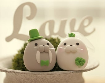 Seal and  Walrus wedding cake topper