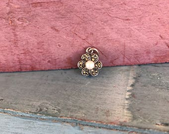 Sterling Silver Marcasite Pearl Flower Pendant Charm Stamped 925, 2.1g
