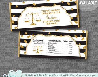 Bar Exam Chocolate Bar Wrapper Personalized Gold Glitter and Black Stripes, Hersheys Wrapper, Candy Wrapper, Law School Graduation Party,30G