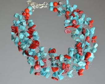 Red Coral Floating Necklace - Colorful Illusion Necklace - Bohemian Necklace - Turquoise Necklace - Boho Wedding Necklace IN0002