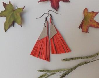 """Fringe Leather earrings - """"Triangular geometry"""" - Chandelier Earrings - boho jewelry"""