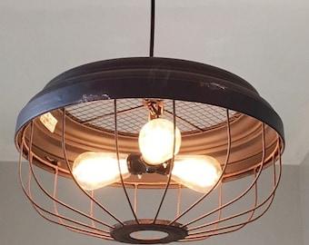 industrial 3 bulb metal pendant light   ceiling light rustic lighting farmhouse vintage rustic lighting   etsy  rh   etsy com