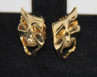Vintage gold tone Laugh Now Cry Later DramaMasks button covers cuff links