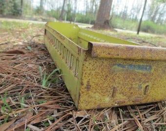 Industrial Salvage Yellow Metal Drawers ~ Metal Storage Drawer ~ Parts Bin ~ Craft Storage ~ Recipe Holder