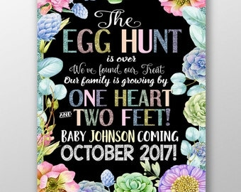 Easter pregnancy announcement, Funny easter pregnancy announcement, egg hunt is over sign, 1 heart and 2 feet pregnancy sign, PRGEAS01