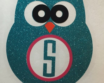 Owl monogram Decal, Owl decal, Owl Yeti Decal