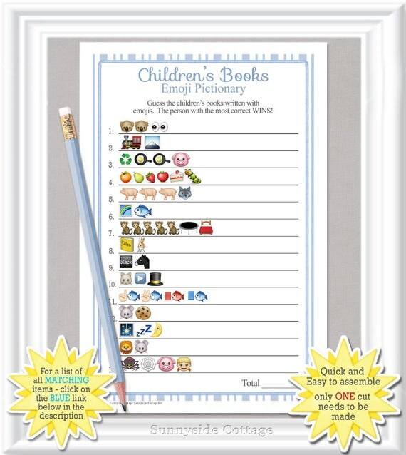children 39 s books emoji pictionary game baby shower game with vintage