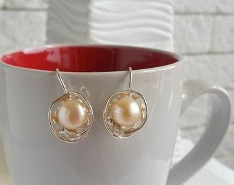 Pearl earrings, Silver pearl earrings, Unique pearl earrings, Pearl jewelry, Statement earrings, wedding earrings, Israel jewelry