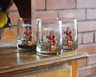 Captain Morgan Drinking Glasses - Set of 3 - Vintage Alcohol Glasses