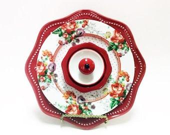 Red White Glass Garden Flower - Garden Art - Plate Flowers - Art Flowers - Glass Flowers - Dish Flowers - Outdoor Decor - Garden Decor