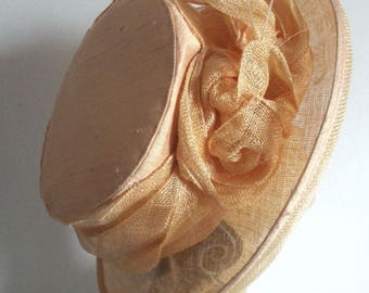 Ladies Dress Hat  Peach sisal Half  Upturned Wide Brim with flower on one side by WHITELEY