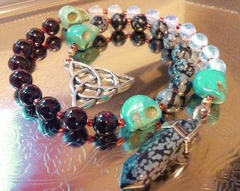 Garnet Snowflake Obsidian Pagan Prayer Beads Witches Witch's Ladder Druid Celtic Prayer Beads Pagan Wicca Witch Goddess Morrigan Morrighan