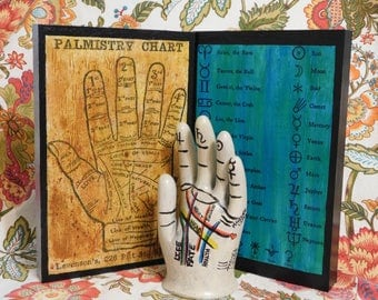 3pc Palmistry Set Chiromancy Palm Reading Hand Diagram Wall Art Sculpture Statue Decor Fortune Telling Divination