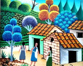 """Jose Torres """"Village in El Salvador"""" small oil painting on board, 1997"""