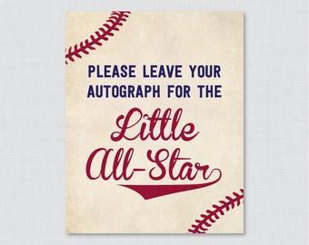 Leave Your Autograph for the Little All-Star Sign OR Little Slugger - Printable Vintage Baseball Autograph Sign, Baby Shower Sign - 0027